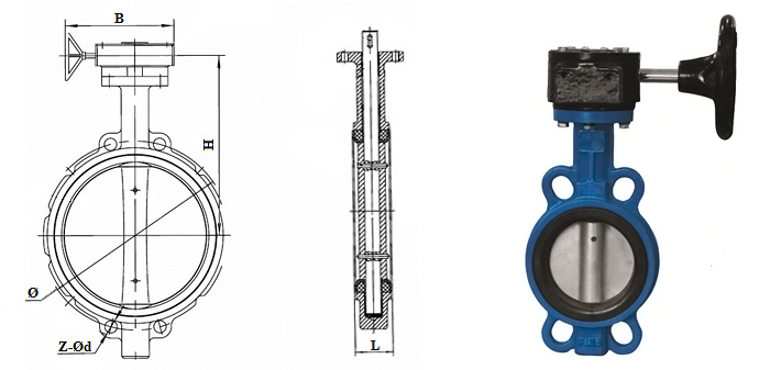 Затвор дисковый Butterfly чугунный (Ру 1,0/1,6 МПа) с оцинкованным диском в комплекте с ручным редуктором межфланцевый