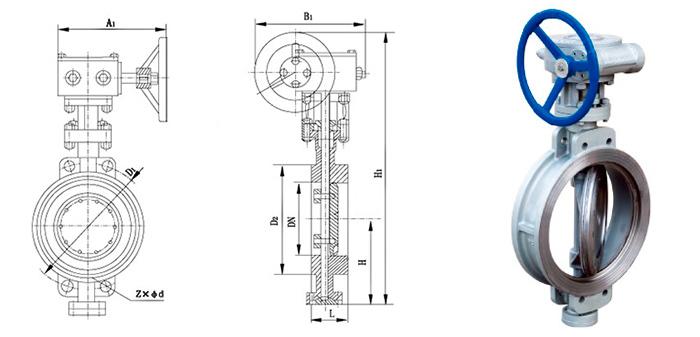 Затвор стальной поворотный межфланцевый в комплекте с ручным редуктором Ру 16