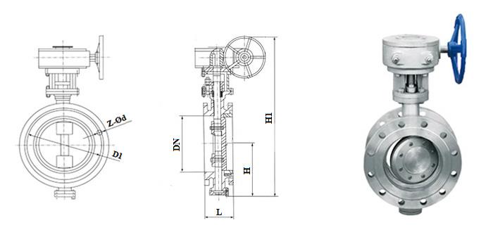 Затвор стальной поворотный фланцевый в комплекте с ручным редуктором Ру 10