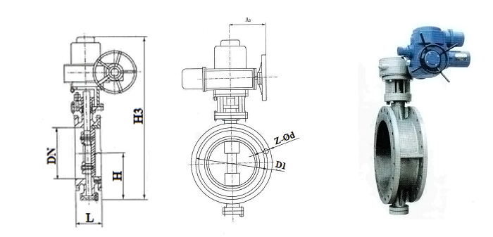 Затвор стальной (Ру 2,5 МПа) в комплекте с электроприводом фланцевый